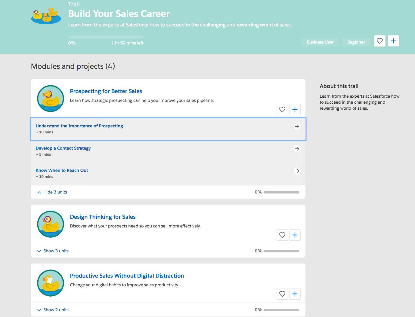 Captura de tela da trilha Criar sua carreira em vendas com os respectivos módulos, mostrando os tópicos da unidade para o primeiro módulo