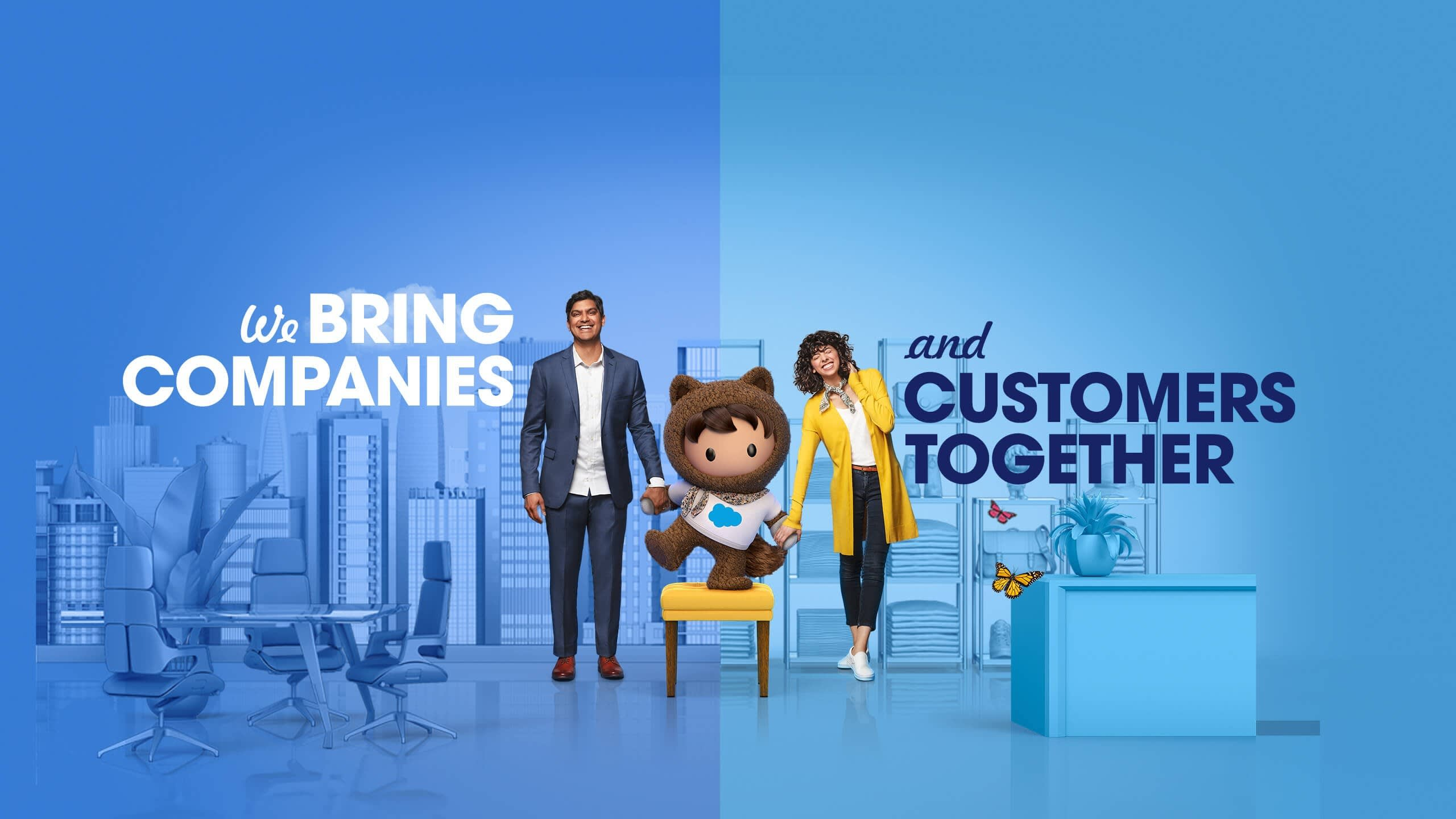 Salesforce mascot Astro standing between a businessman and a customer and holding the hand of each.