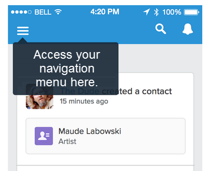 pop up menu with text: Access your navigation menu here.