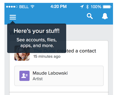 pop up menu with text: Here's your stuff! See accounts, files, apps, and more.