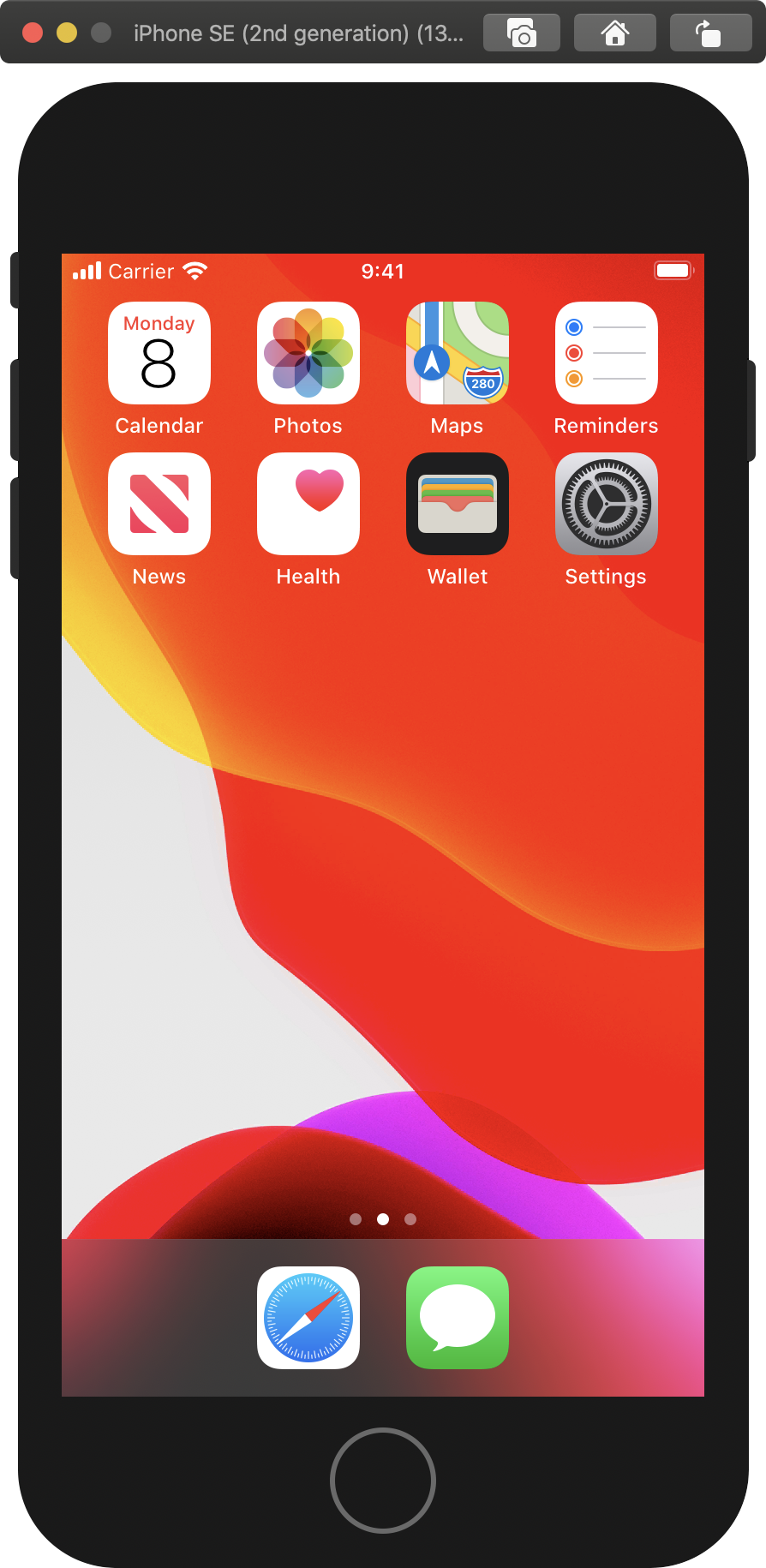 The iPhone SE home screen in Simulator