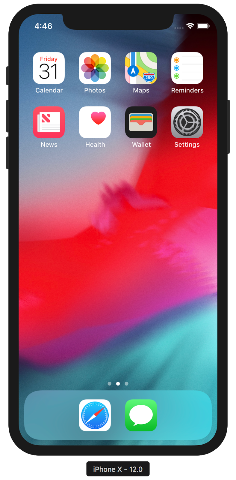 The iPhone X home screen in Simulator with