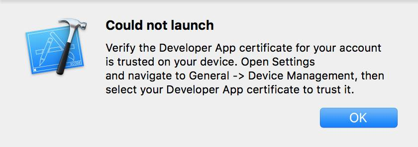 "The prompt to trust the developer certificate starts with a ""Could not launch"" message."