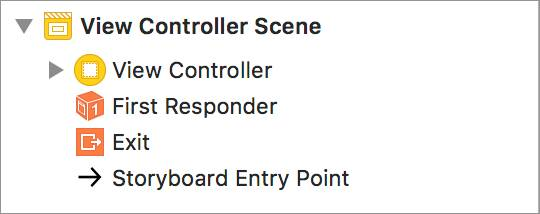The View Controller in Document Outline.