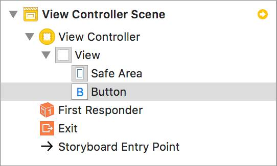 The Button added to the canvas in the View Controller Scene.