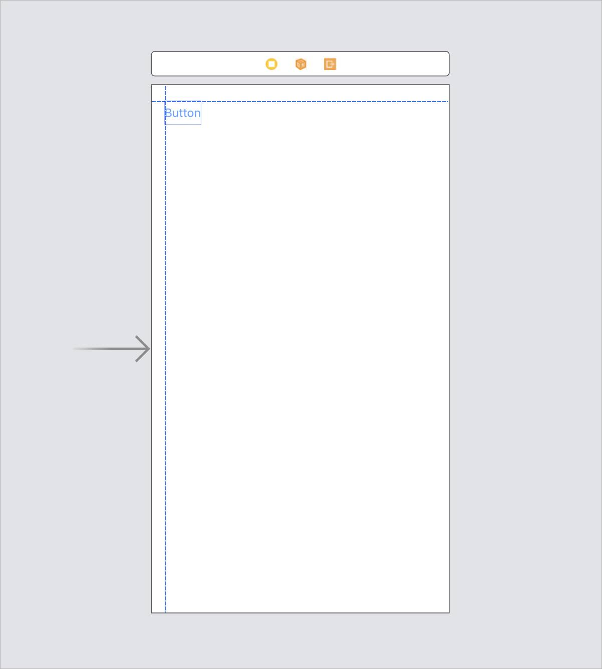 The Button alignment with margin guides, aligned on the top left of the canvas.