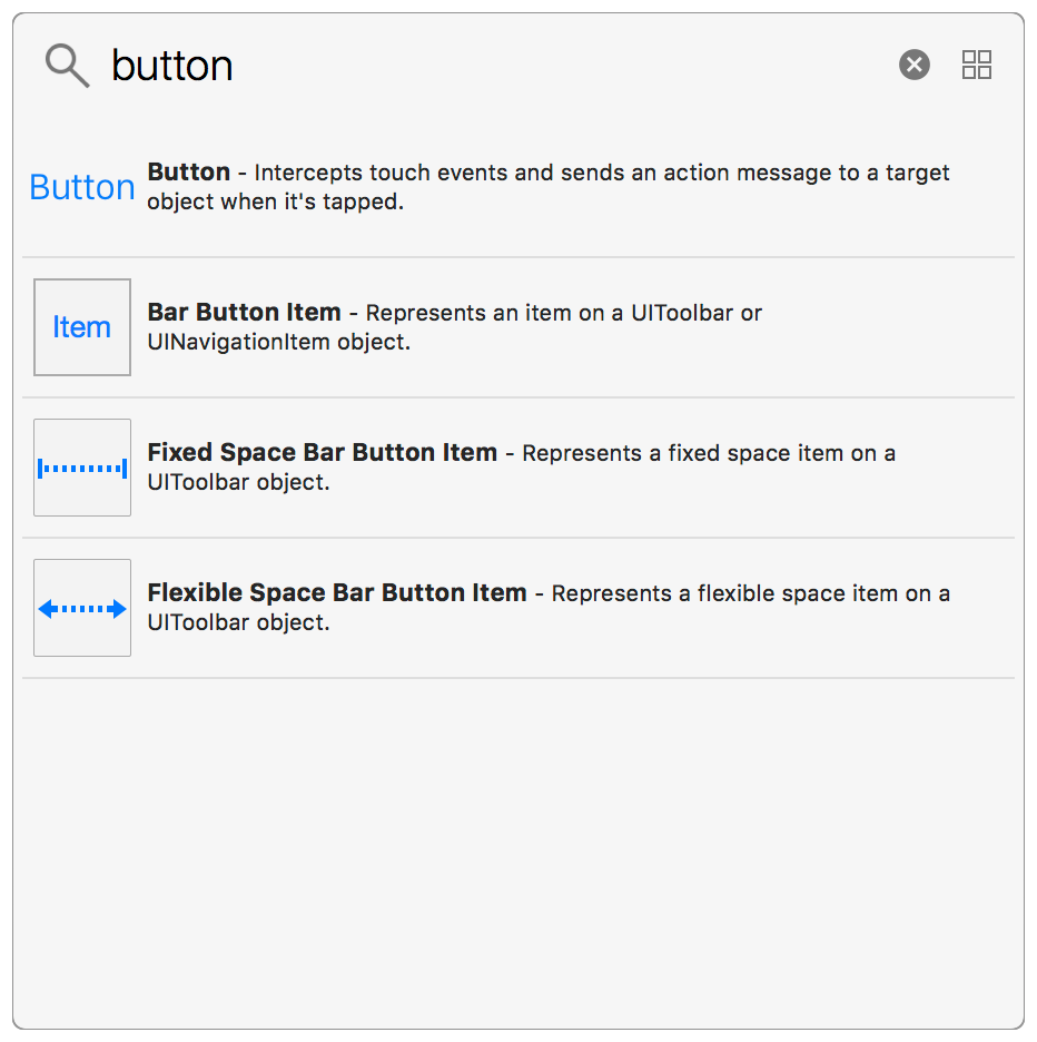 The Object Library, filtered by buttons called Button, Bar Button Item, Fixed Space Bar Button Item, and Flexible Space Bar Button Item.