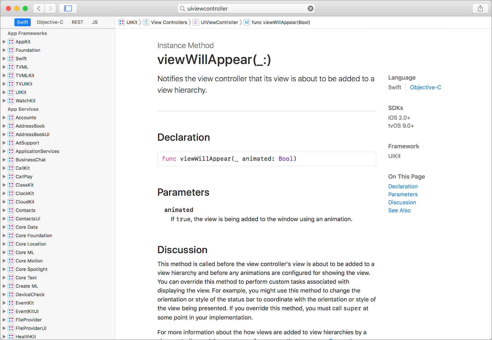 Documentation for the viewWillAppear(_:) method.