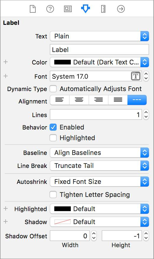 The Attributes inspector for the Label object with selections for Text, Color, Font, and more.