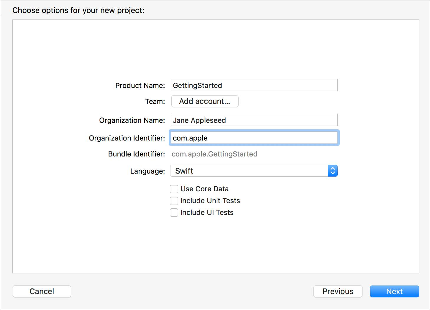 The Choose options for your new project screen with the Organization Identifier field highlighted.
