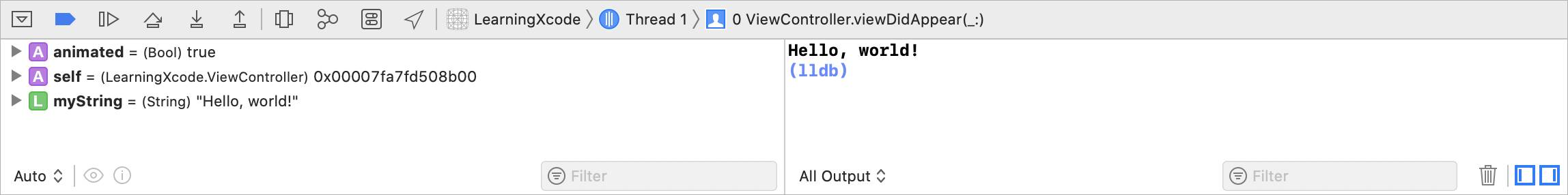 The Xcode Debug Area with the code and Hello, world! result in review.