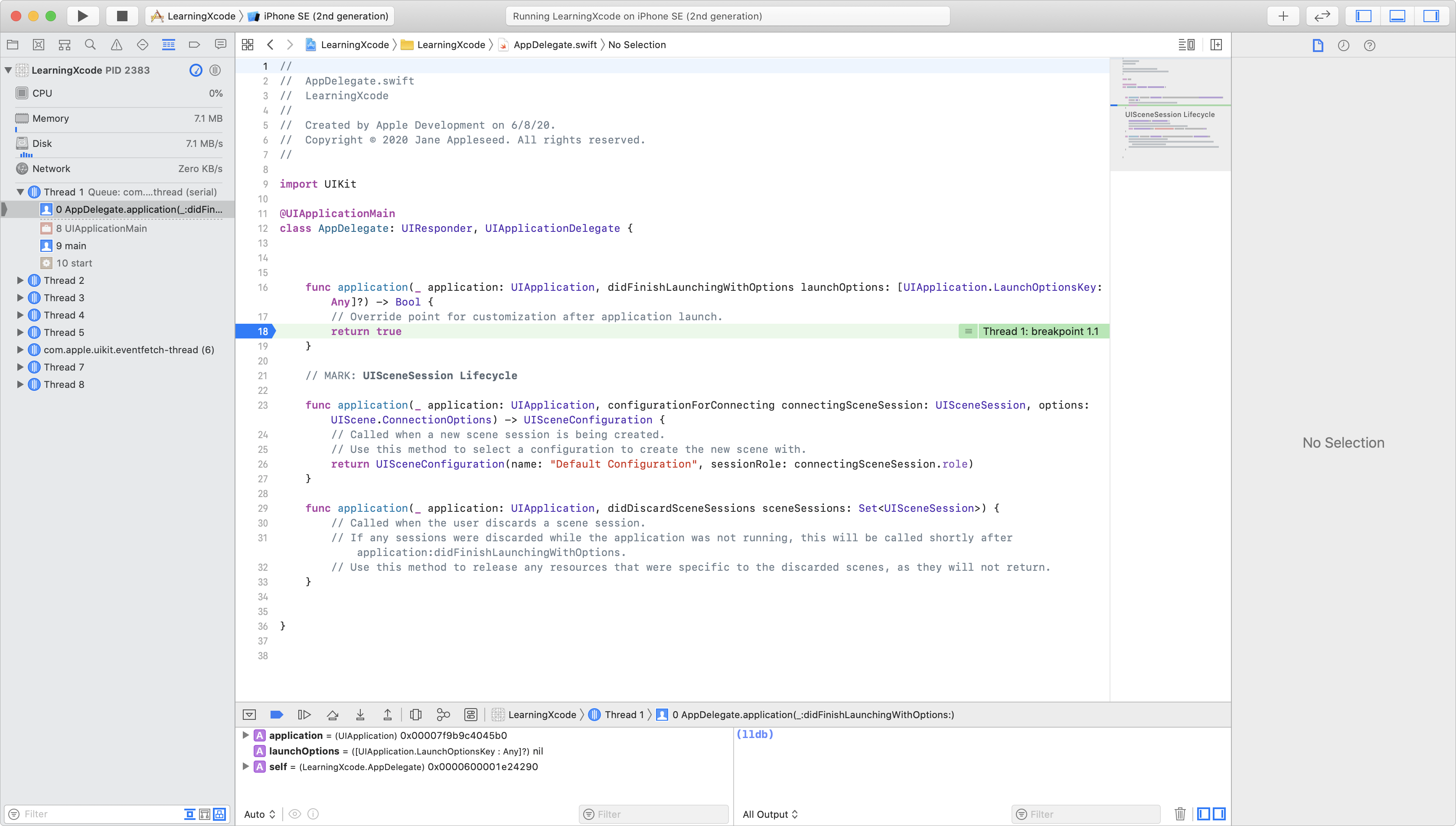 The Xcode main sections are shown on one screen.