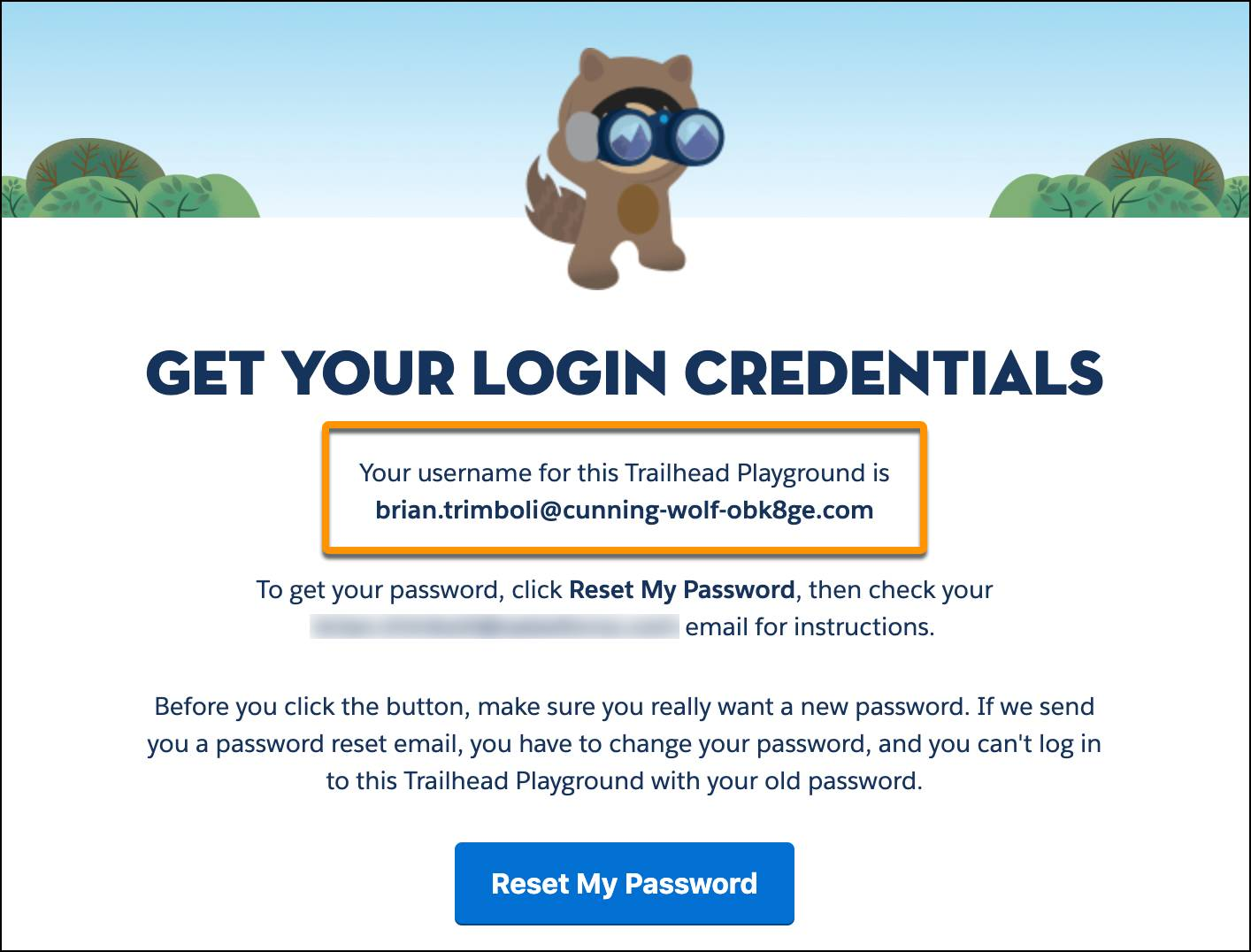 Your username in the Trailhead Tips app.