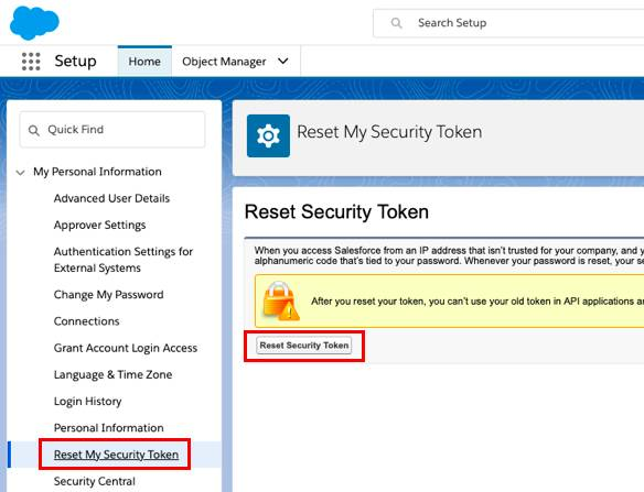 Screen showing the Reset Security Token Page with the Reset Security Token button highlighted.