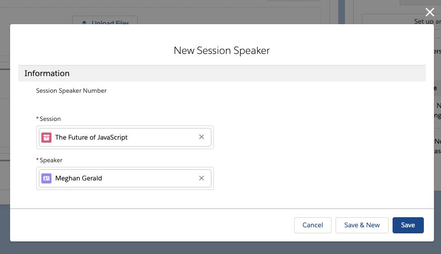 New Session Speaker popup.