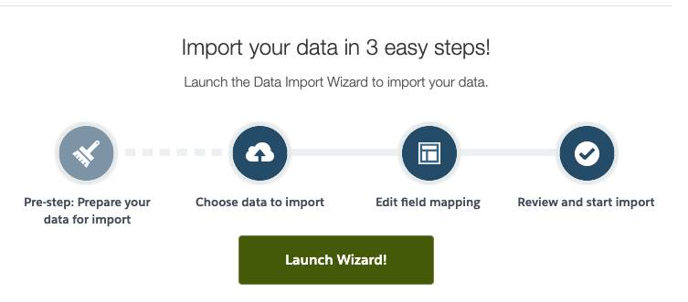 Data Import Wizard Welcome Screen.