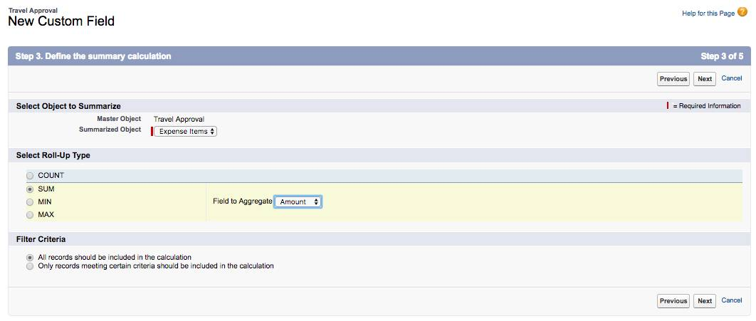 Step 3 of the New Custom Field for the Travel Approval object