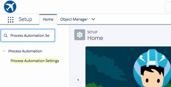 Home page with Process Automation Settings selected