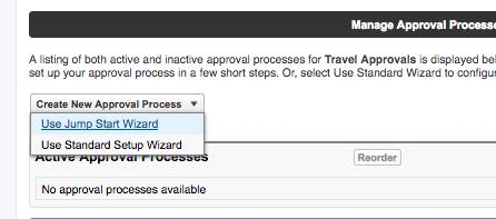 Approval Process with Use Jump Start Wizard selected