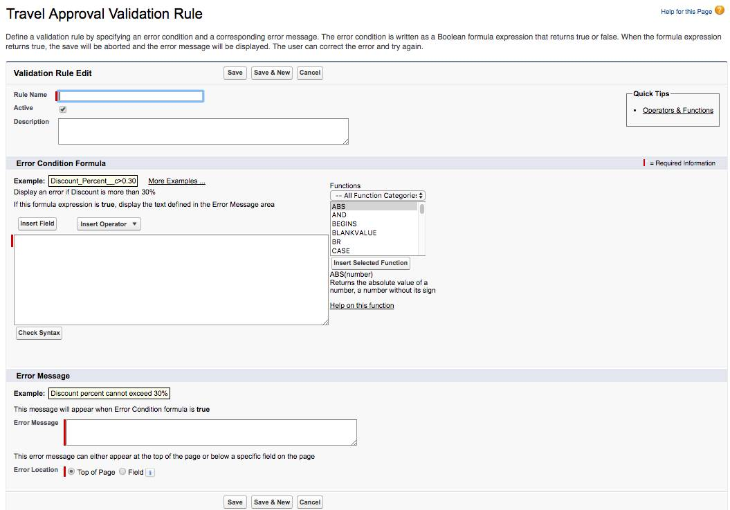 The Travel Approval Validation rule configuration window