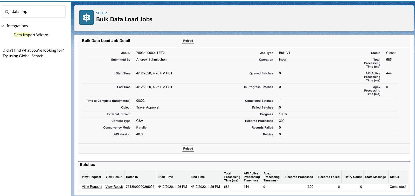 Bulk Data Load Jobs page