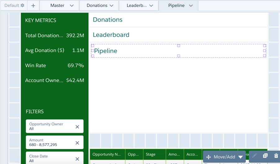 The Donation, Leaderboard, and Pipeline link widgets are stacked on top of one another.