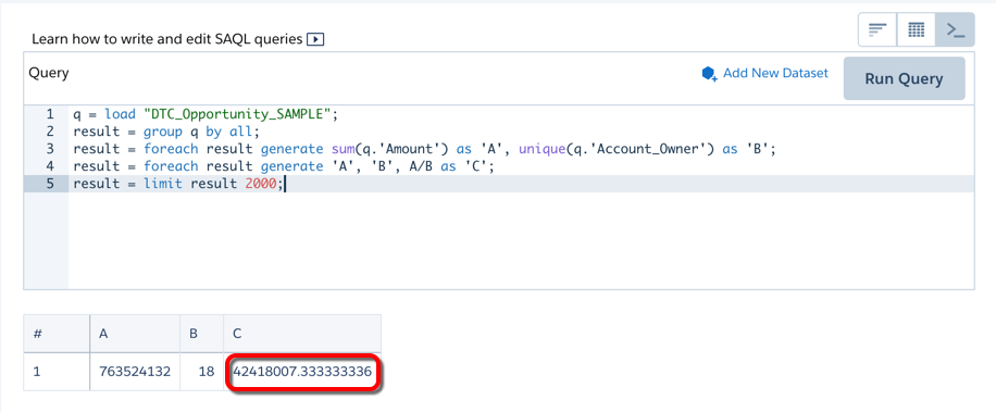 The SAQL editor shows the results of the Account_Owner_1 step.