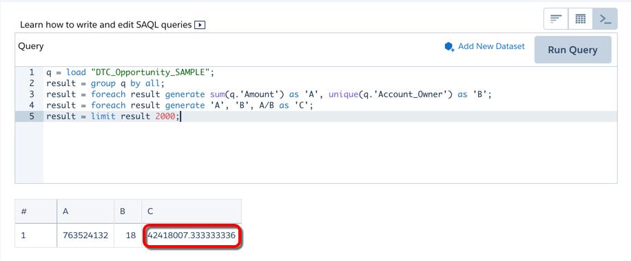 SAQL编辑器显示Account_Owner_1步骤的结果。