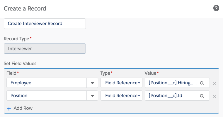 Process Builder Create a Record step showing selected field values.