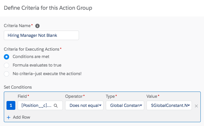 Process Builder step Define Criteria for this Action Group showing selected criteria.