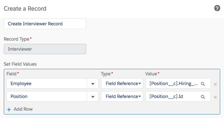 選択した項目値が表示されているプロセスビルダーの [Create a Record (レコードを作成)] ステップ