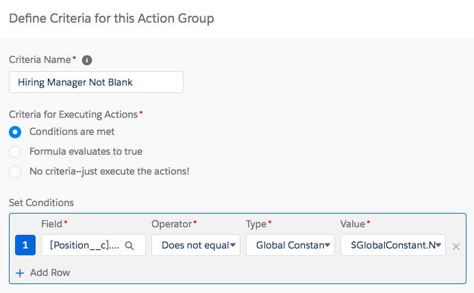 選択した条件が表示されているプロセスビルダーのステップ [Define Criteria for this Action Group (このアクショングループの条件を定義)]
