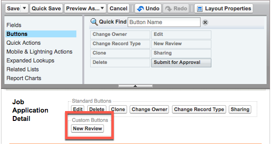 Job Application page layout editor showing the New Review custom button in the Job Application Detail section.