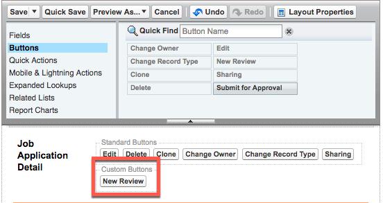 [Job Application Detail (求人応募の詳細)] セクションに [New Review (新規レビュー)] カスタムボタンが表示されている [Job Application (求人応募)] ページレイアウトエディタ