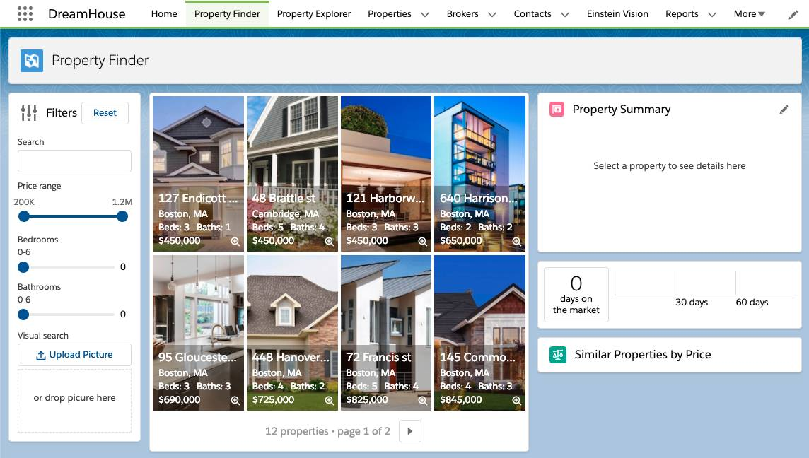 The Property Finder custom object showing filters, houses and condos, Property Summary, and more.