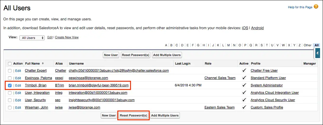 The user list in Setup, with the Trailhead learner name and email, as well as the Reset Password(s) button, highlighted by red boxes.