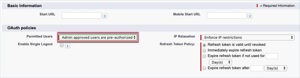 Connected App policy that admin-approved users are pre-authorized