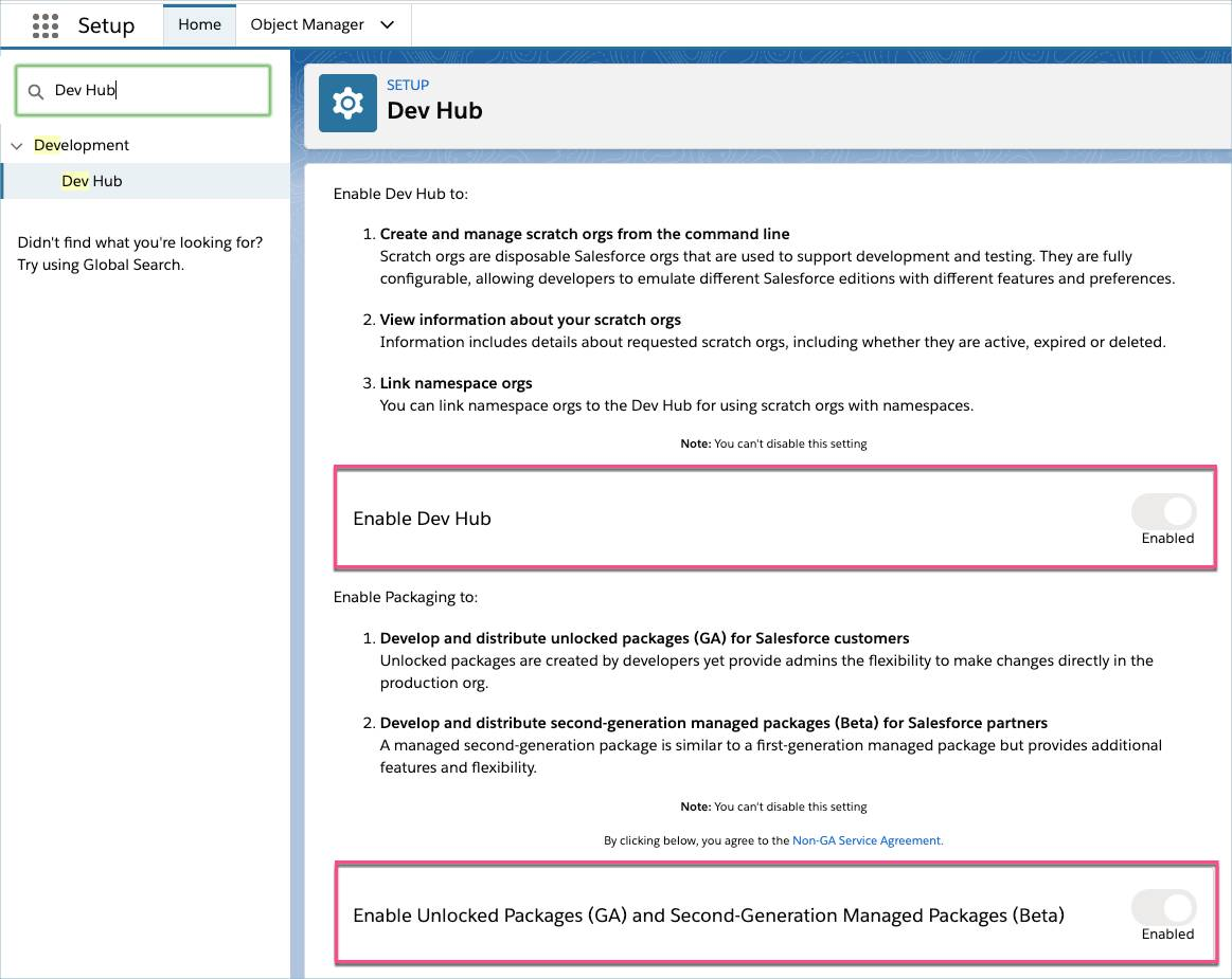 Enable Dev Hub and Second Generation Packaging from Setup
