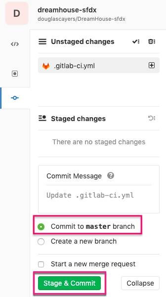 Stage and commit change to repository in Web IDE