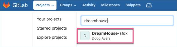 DreamHouse-sfdx selected from the Projects dropdown, with DreamHouse appearing in the search box.