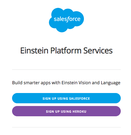Einstein Platform Services Sign Up
