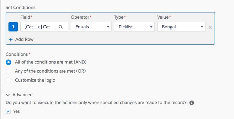 Screenshot of process criteria conditions showing advanced option selected