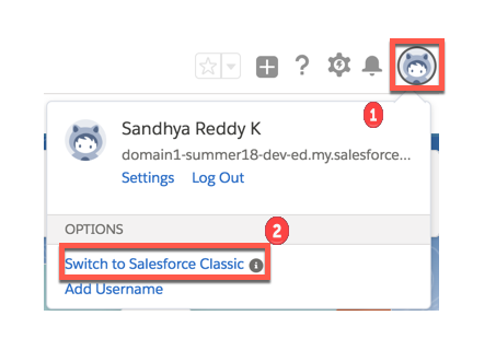 Click the profile icon and select Switch to Salesforce Classic.