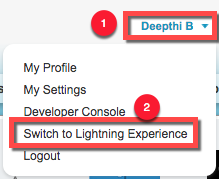 Click your name and select Switch to Lightning Experience.