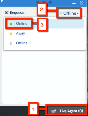 From Sample Console click Live Agent. Then click Offline and select Online to go online and accept chats.