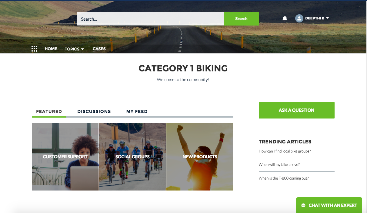 Screenshot of the community home page for Category 1 Biking
