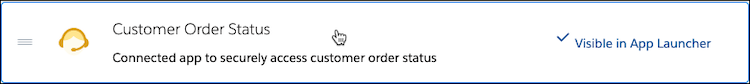The Customer Order Status connected app on the App Menu page.