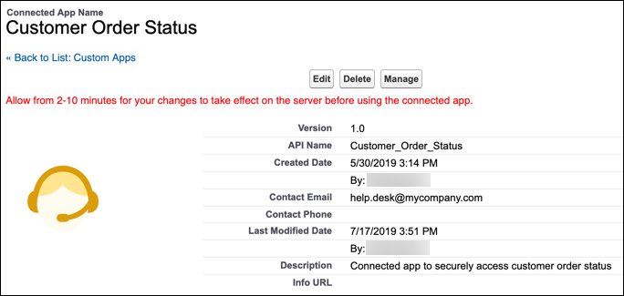The Customer Order Status connected app's details on the Manage Connected Apps page.