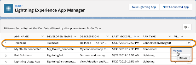The Trailhead connected app listed on the App Manager page, with only the Manage option.