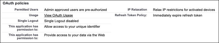 OAuth policies assigned to the Customer Order Status connected app.